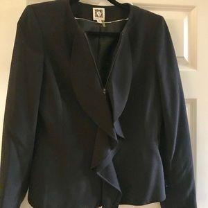 Anne Klein zippered ruffle skirt suit